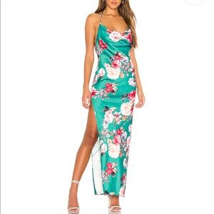 Nicolette Gown dress in Teal Floral